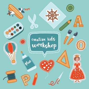 Handmade creative kids banners. creative process banners with child application and childrens handiwork.  illustration of workshop set Premium Vector