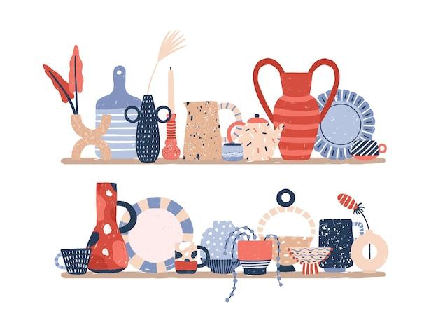 Handmade decor porcelain on rack vector flat illustration. hand drawn modern pottery product of ceramic studio isolated on white. handcraft vases, crockery and interior decoration.