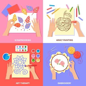 Дизайн ручной работы со скрапбукингом живописи и процесса вышивки, изолированных на цветном фоне