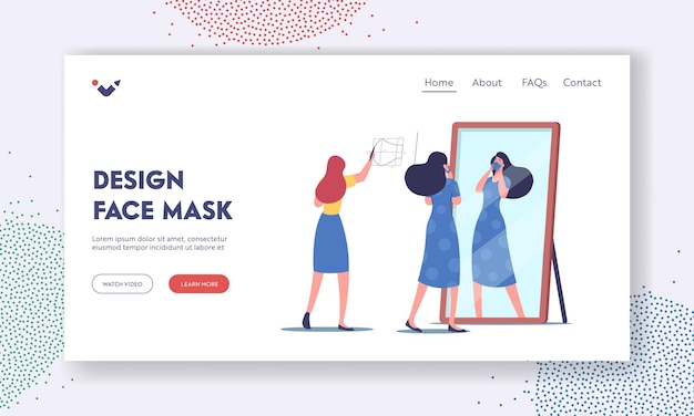 Handmade diy face mask design landing page template. female character cut out and sewing medical masks at home during coronavirus. woman try on mask front of mirror. cartoon people vector illustration