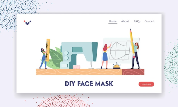 Handmade diy protective face mask creation landing page template. tiny female characters cut out and sewing medical masks at home on huge machine during coronavirus. cartoon people vector illustration