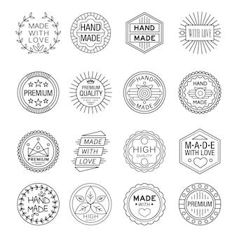 Handmade emblems linear set