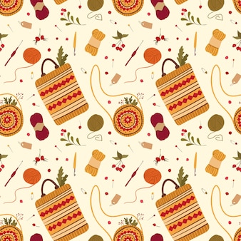 Handmade folk style bags flat vector seamless pattern