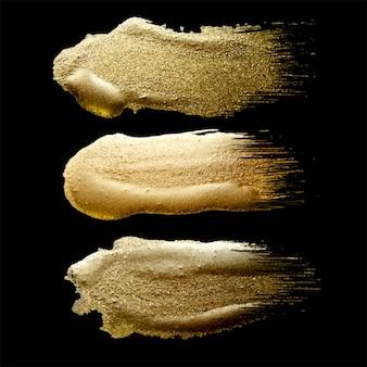 수제 황금 페인트 브러시 스트로크 세트 컬렉션