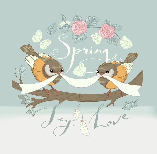 Дизайн открытки ручной работы с растениями, розами, птицами и бабочками на белом. рисованной тушью надписи на старинном фоне. весна, радость, любовь. вектор.
