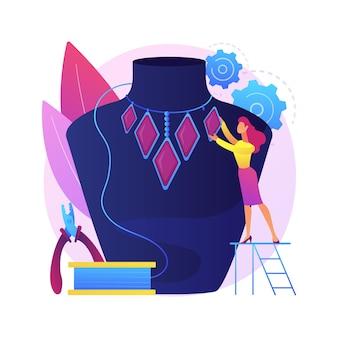 수제 보석 추상적 인 개념 그림입니다. 자체 제작 보석, 디자이너 스타트 업, 수제 제품, 온라인 예약, 수공예품, 장인 상품 구매, 맞춤 주문