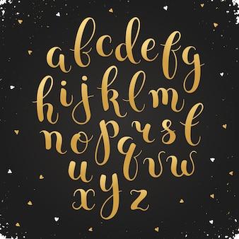 Буквы ручной работы. рукописный алфавит с акварельными пятнами