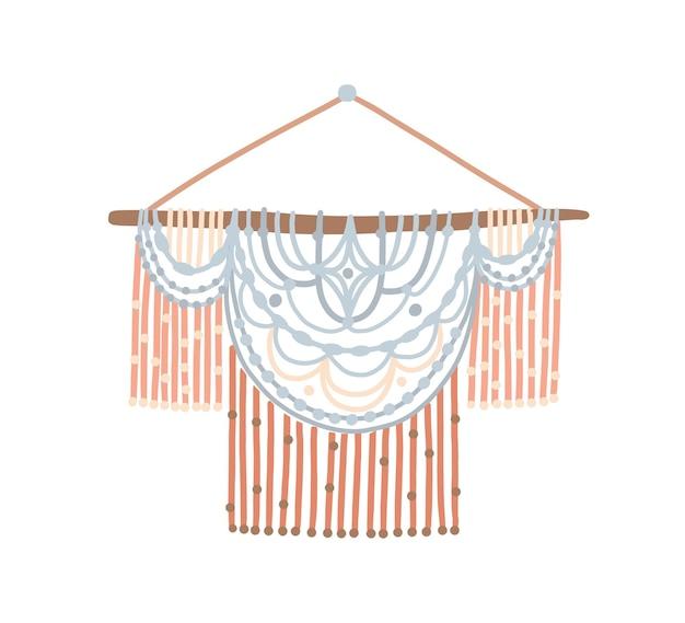 Handmade macrame wall flat vector illustration. beautiful handwork with elegant ornament. stylish ropework, cozy home decoration. handcrafting hobby, handwork, knotting concept design element.