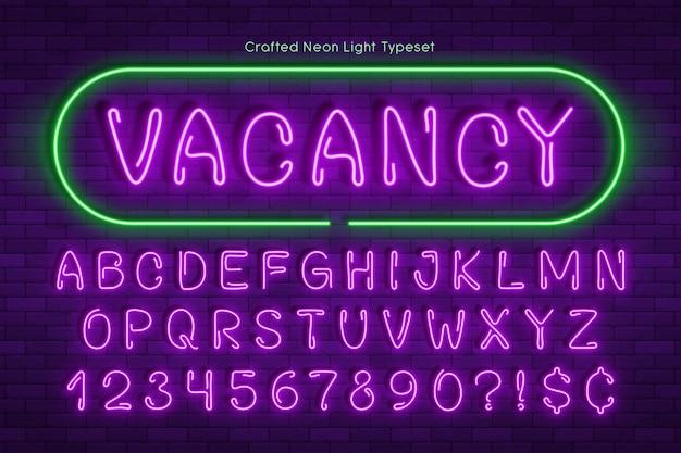 Ручной неоновый свет алфавит, реалистичный дополнительный светящийся шрифт
