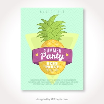 Handmade pineapple summer party brochure