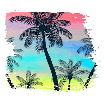 Handmade poster on watercolor brush stroke background with palm trees, creative summer pattern, print. vector illustration