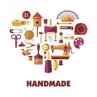 Handmade products creation special tools in heart shape