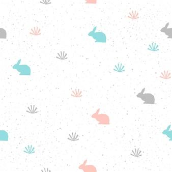 수 제 토끼 원활한 패턴 배경입니다. 카드, 초대장, 벽지, 앨범, 스크랩북, 휴일 포장지, 섬유 직물, 의류, 티셔츠를 위한 추상 파란색, 회색 및 분홍색 패턴