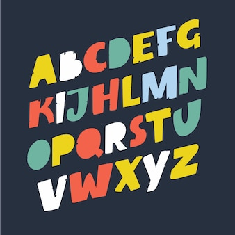 手作りスクリプトフォント。コミックの手紙。装飾のための面白いアルファベット