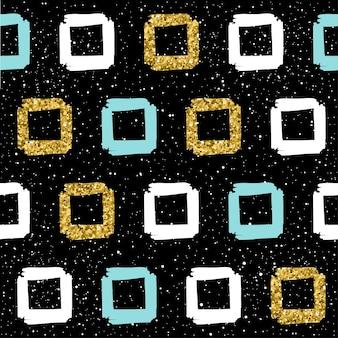 수 제 완벽 한 배경입니다. 금색, 파란색, 흰색 사각형입니다. 크리스마스 카드, 새해 초대장, 결혼 앨범, 책, 스크랩북, 섬유 직물, 의류, 티셔츠를 위한 추상 사각형 패턴입니다. 골드 질감 프리미엄 벡터