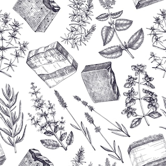 Handmade soap ingredients seamless pattern handsketched aromatic and medicinal herbs background