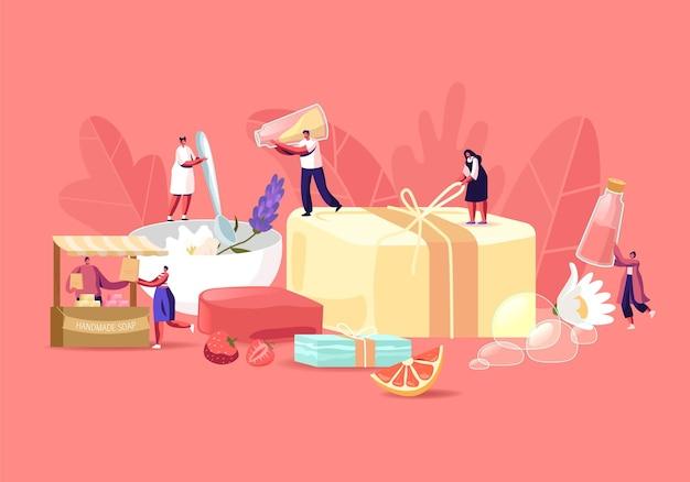 Концепция производства мыла ручной работы. крошечные персонажи мужского и женского пола, изготавливающие мыльную пену из натуральных органических ингредиентов, фруктов, трав и масел для продажи на ремесленном рынке. мультфильм люди векторные иллюстрации