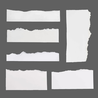 Handmade torn paper craft vector in white minimal style set