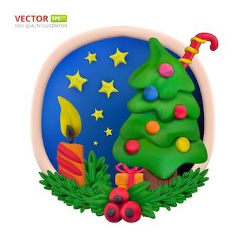 수제 벡터 모델링 점토 원형 인사말 카드는 크리스마스와 새해 복 많이 받으세요. 사탕, 선물, 별, 나무, 양초, 전나무 분기 및 흰색 배경에 고립 된 유럽 홀리의 벡터 일러스트 레이 션