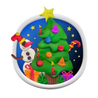 Вектор ручной работы из глины для моделирования круглых открыток на рождество и новый год. векторная иллюстрация елки со снеговиком, подарком, свечой, звездами, конфетами и колокольчиком, изолированными на белом фоне
