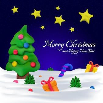 Ручной вектор пластилиновая открытка или баннер для рождества и счастливого нового года. векторная иллюстрация елки с игрушками, подарками и конфетами на синем звездном фоне