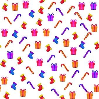 白い背景で隔離のクリスマスと新年あけましておめでとうございますの手作りのベクトル塑像用粘土のシームレスなパターン。テキスタイル、パターンフィル、テクスチャ、ギフト包装、壁紙への印刷に使用できます