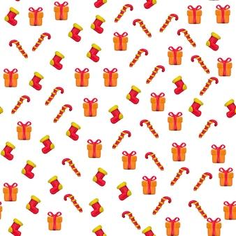 Ручной вектор пластилин бесшовные модели для рождества и счастливого нового года, изолированные на белом фоне. может использоваться для печати на текстиле, узорах, текстурах или подарочной упаковке и обоях.