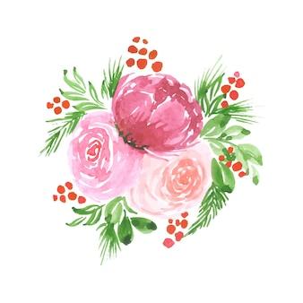 Arte floreale dell'acquerello fatto a mano design