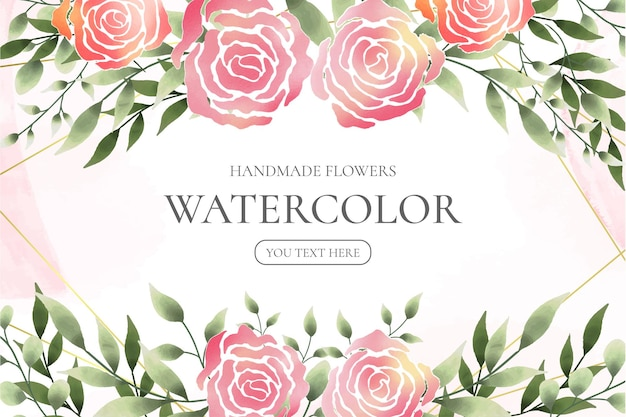 Handmade watercolor floral frame Free Vector