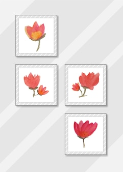 Handmade watercolor flower with frame