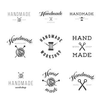 Handmade workshop logo vintage vector set.
