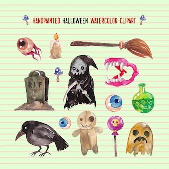 Handpainted halloween watercolor clipart