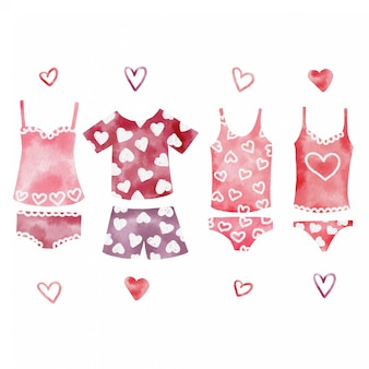 Handpainted watercolor set of cute valentines day underwear