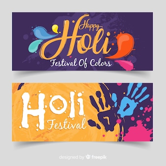 Handprint holi fesival banner
