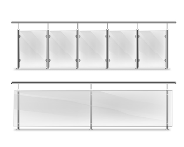 Handrails with glass for advertising. glass balustrade with metal handrails set. fencing sections with steel pillars. panels balusters for architecture or build