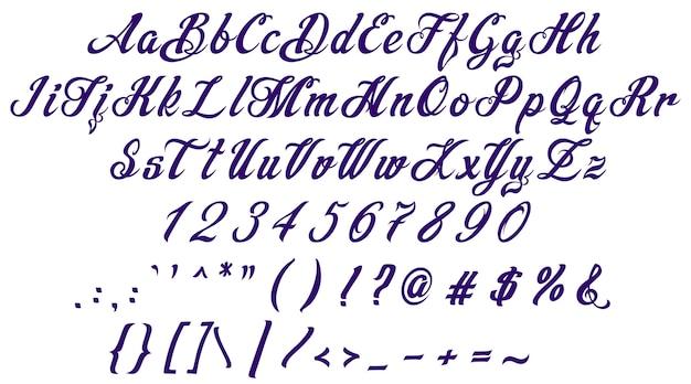 Handrawn calligraphic violet alphabet font