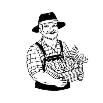 빈티지 스타일 라인 아트 그림에서 handrawn 농부는 흰색에 고립