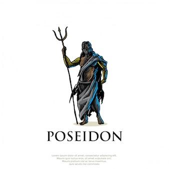 Handrawn greek god poseidon logo
