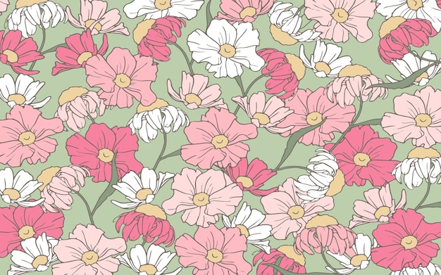 Handrawn outline pink and white flowers background