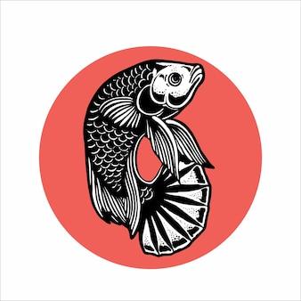 Handrawn splendens betta fish illustration