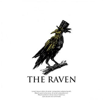 Handrawn steampunk raven logo template