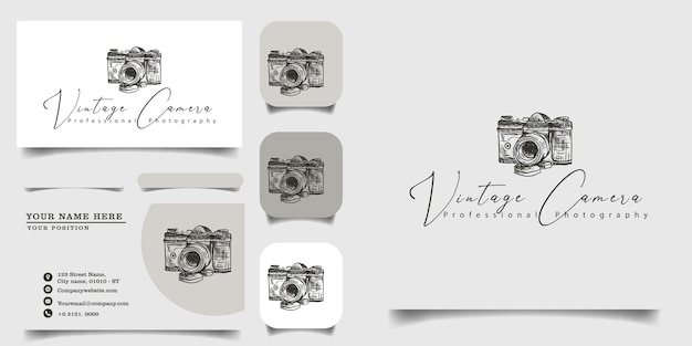 Ручной винтажный шаблон логотипа и визитная карточка