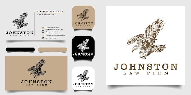 Handrawn vintage logo template and business card