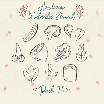 Handrawn watercolor autumn element pack 10