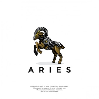 Handrawn zodiac aries logo