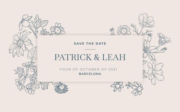 Handrawn花の結婚式の招待状