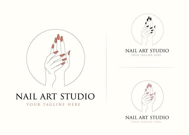 네일 아트 스튜디오를위한 손과 손톱 로고 디자인