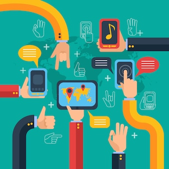 手と電話のタッチスクリーンのコンセプト