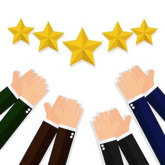 Hands applaud for five stars