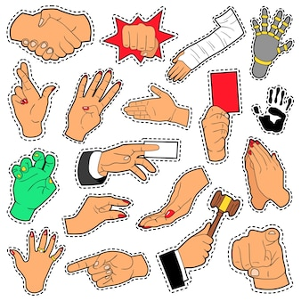 Hands and arms set with different signs for scrapbook, prints and stickers. vector doodle
